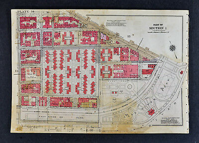 1934 Bromley New York City Map East River Park South Street Broadway Montgomery