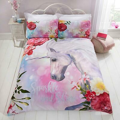 Sparkle and Shine Duvet Covers Unicorn Pink Floral Girls Quilt Cover Bedding Set