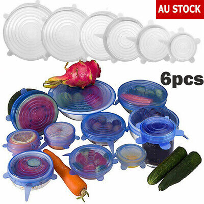 6pcs Silicone Stretch Lid Reusable Keep Fresh Food Kitchen Storage Wrap Cover