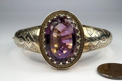BEAUTIFUL ANTIQUE VICTORIAN PERIOD ENGLISH SILVER GILT AMETHYST BANGLE c1880