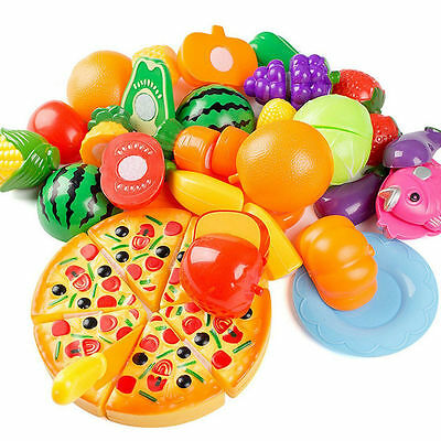 24 Pcs Kids Pretend Role Play Kitchen Fruit Vegetable Food Toy Citting Toys S&k