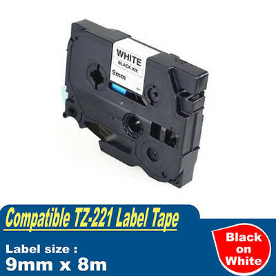 1x TZe221 TZ221 Laminated Label Tape for Brother P-Touch PT2300/2700/3600/9600