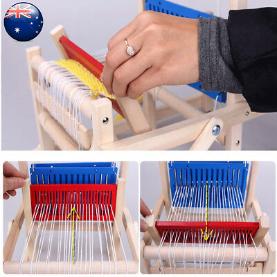 Craft Chinese Wooden Traditional Table Weaving Loom Kids Toy DIY Brocade Model