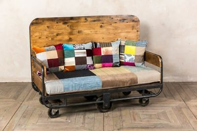 Upcycled Sofa Cart Rustic Trolley Cart Sofa Two Seater Patchwork Upholstery