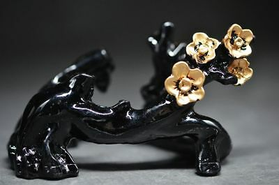 Exquisite Chinese imitative wood resin plum blossom base & statue Fine