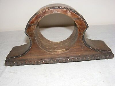 Vintage Mantle Clock Outer Case Carved Oak Bun Feet Wood Wooden