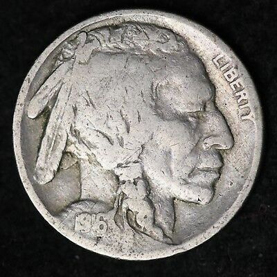 1916 Buffalo Nickel CHOICE G+ FREE SHIPPING E161 UN