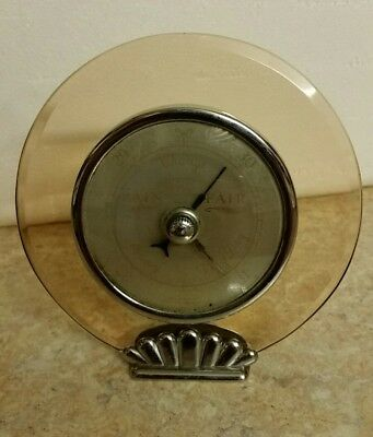 1930s ART DECO PINK DEPRESSION GLASS BAROMETER-CHROME FOOT-WORKING WELL-ENGLAND!