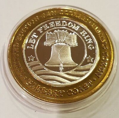 """HARD TO FIND Barbary Coast $10 Gaming Token """"Let Freedom Ring  .999 Fine Silver"""