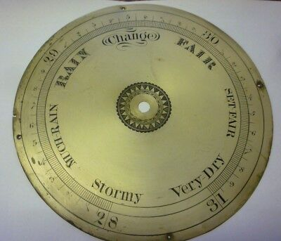 Original Antique Banjo Barometer 8ins Silvered Brass Dial (3)
