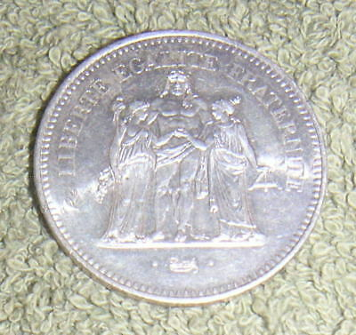 Huge French France .900 Fine Silver 1977 Fifty 50 Francs Coin Nice Condition Lot