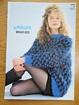 705049e20eae2 Vintage Knitting Pattern JAEGER Mohair Gold Womens 1980s Sweater 30 -40 in
