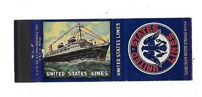 Vintage Matchbook Cover UNITED STATES LINES SS America Steamship S623