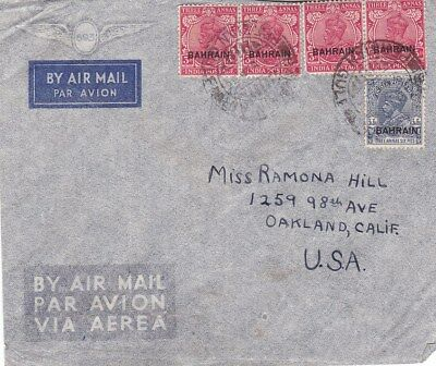 1930s Bahrain #8, #16(4) on AirMail Cover to Oakland CA *d