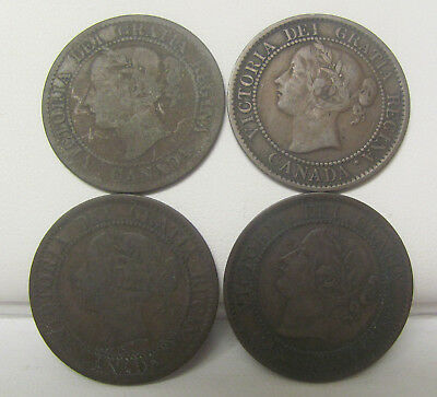 Lot of 4 - 1859 Canada One Large Cent Coins Copper Penny VG/F C1684