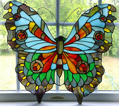 "Tiffany Style Butterfly Design Stained Glass Window Panel 21"" Tall x 20"" Wide"