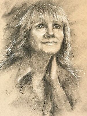 Original charcoal drawing Woman Art Pastel portrait people listed By Artist USA