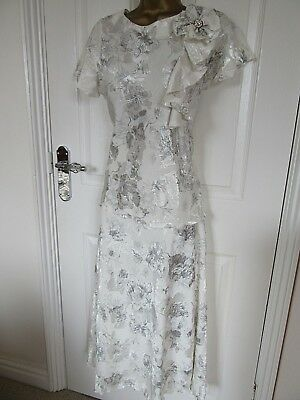 Fabulous  Occasion Outfit Top/Skirt By Saloos Uk-14 In Ivory& Silver