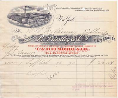 1906 Invoice B. Priestly & Co. Manufacturers Bradford, England New York Office