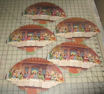 5 Expandable BERRY FUNERAL HOME Felton, DE THE LAST SUPPER Hand Paddle Fans Lot