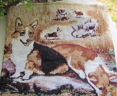 Ruth Maystead WELSH CORGI Woven Tapestry Fabric Dog Breed Lined Totebag