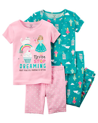NWT Girls Carter's 4pc Never Stop Dreaming Princess Rainbow Pajamas sz 3t