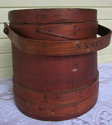 VTG Small Wooden 1SXX Sugar Bucket Lap Band Swing Handle with Lid