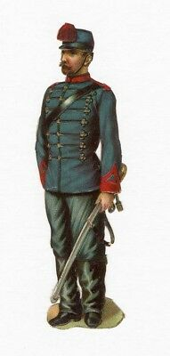 Soldier Military Uniform VICTORIAN DIE CUT 19th Century Blue Red Jacket Sword