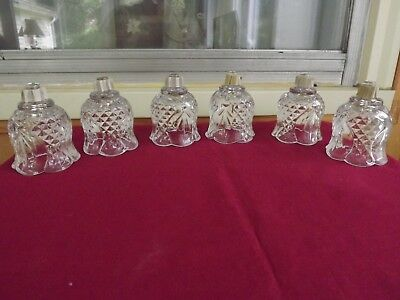 Lot of 6 Vintage Clear  Diamond Cut  Flower Home Interior Votive Cups