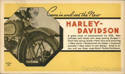 Motorcycle 1936 Harley Davidson Advertising Postcard Harley Davidson 1c stamp