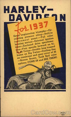 Motorcycle 1937 Harley-Davidson Advertising Postcard Harley Davidson 1c stamp