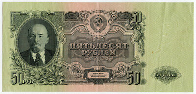 Russia-Ussr 1947 Issue 50 Rubles Banknote Crisp Vf-Xf.pick#230.