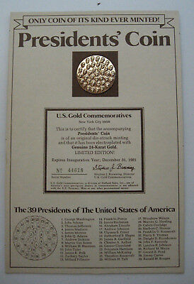 President's Coin-39 U.s. Presidents On One 24Kt Gold Plated Commemorative Coin