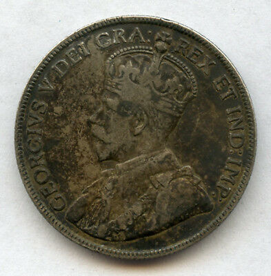 Canada 1918 Issue King George V 50 Cents Scarce Coin,toned Vf-Xf.