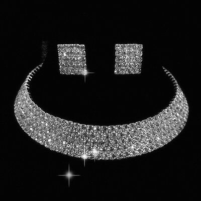 5 Rows Wedding Bridal crystal necklace earring Prom GP Silver Jewelry Set N142