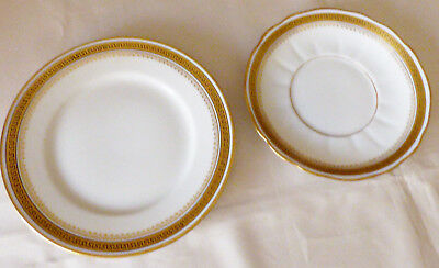 VTG Wm. Guerin & Co. LIMOGES Greek Key Pattern Bread & Butter Plates & Saucer