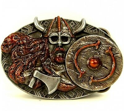 Buckle As Viking with Shield and Axe, BELT BUCKLE