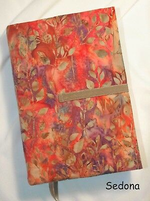 "9 x 6"" Fabric Book Cover- Adjustable Thickness. ""Sedona"" Print  Handmade in USA"