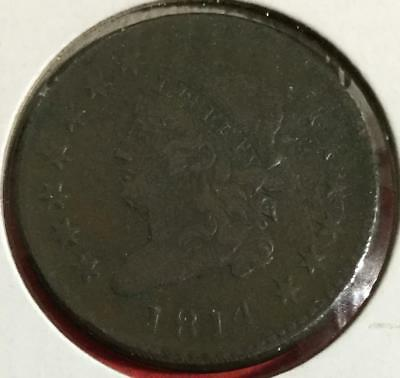 1814 US LARGE CENT! Classic TURBAN HEAD! Extra Fine Details!