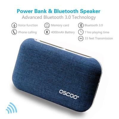 OSCOO Portable Wireless Bluetooth Speakers w/ 4000mAh Power Bank Mic - Blue