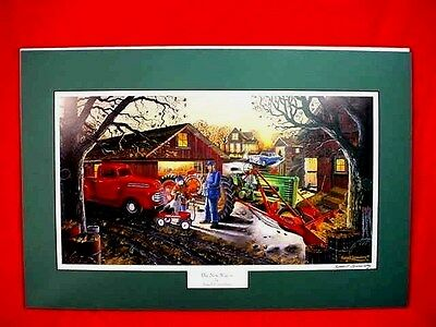 Russell Sonnenberg John Deere B Tractor Print - The New Wagon - Radio Flyer