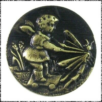 "1/2"" Antique French Tight Metal Button, Fairy Child on Cart Pulled By Dragonfly"