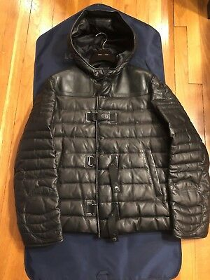 9677ab5466fa Auth Louis Vuitton LAMBSKIN GOOSE DOWN Damier Graphite LEATHER Jacket Puffer  54