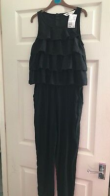 BNWT Girls Black Playsuit With Frill Detail Age 11-12 Years
