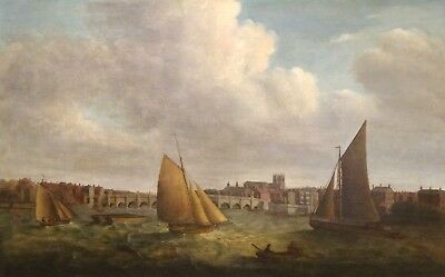 Large 18th Century London Westminster Bridge Thames Landscape Antique Painting