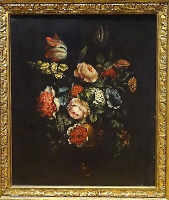 Fine Large Dutch Old Master 18th Century Flowers Still Life Antique Oil Painting
