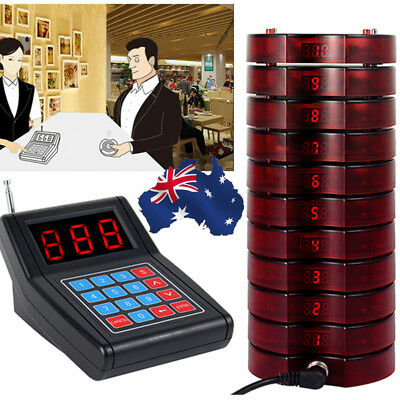 Wireless 10 Restaurant Coaster Pager Guest Call Paging Queuing Calling System AU