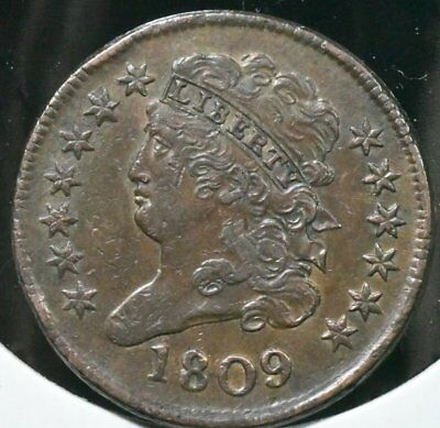 1809 half cent in  About Uncirculated  coindition.