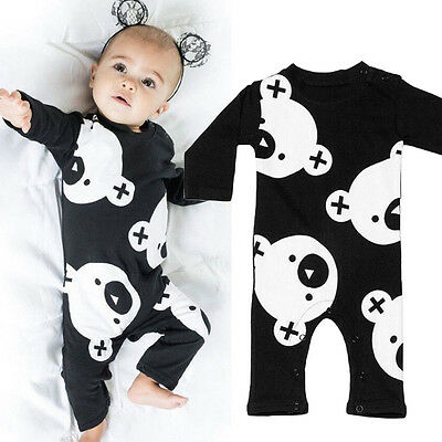 Baby Boy Long Sleeve Bodysuit Romper Playsuit Outfits Jumpsuit Clothes 0-24M TY