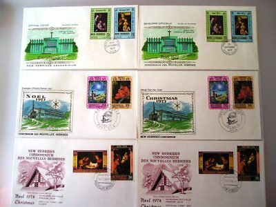 New Hebrides 1972 - 1974 Christmas FDCs - English & French versions - (43)